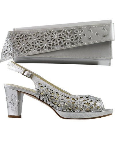 LCF547 - Silver Marta Fabi Handcut Shoes & Bag