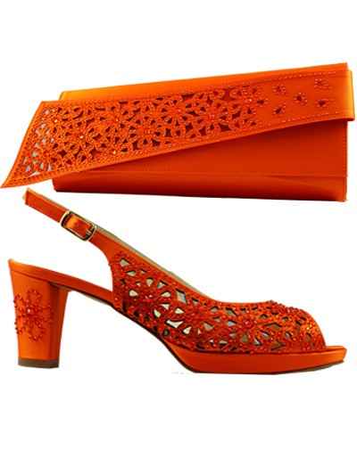 LCF548 - Orange Marta Fabi Handcut Shoes & Bag