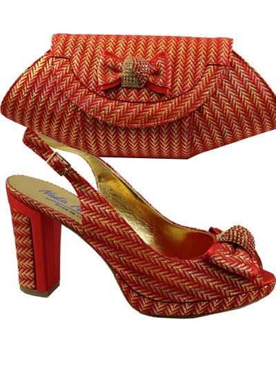 NFI143 -Red & Gold Leather Nadia Ferri Shoes & Bag