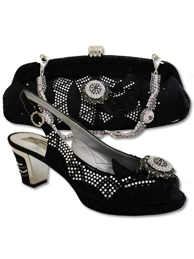 BGB581 - Black Bruno Giordano Shoe & Bag Set