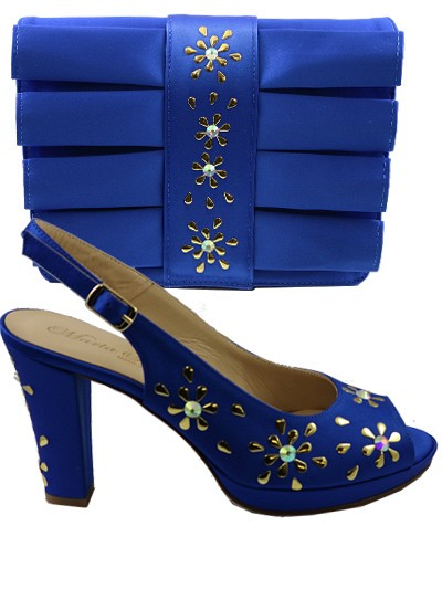 MTB063 - Royal Blue Marta  Fabi Satin with Gold Metal studs and Crystal Stone