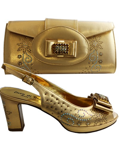 EDS1041 - Gold Enzo di Roma Shoe & Bag