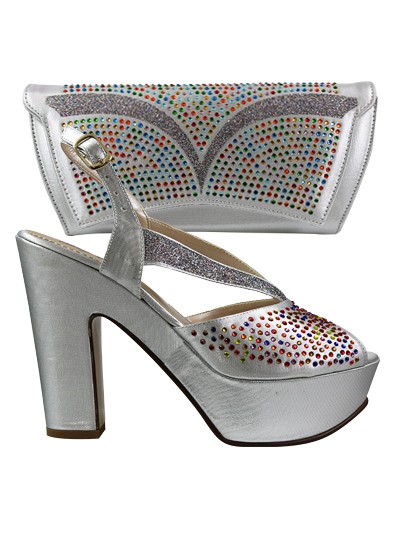 EDS1058 - Silver Wedge Enzo Diroma Shoe & Bag