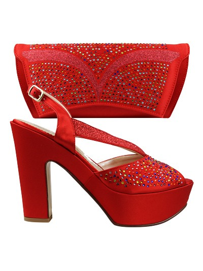 EDS1060  - Red Wedge Enzo di Roma Shoe & Bag
