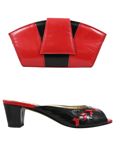 EVQ130 -Black & Red Evoque Sandals & Bag