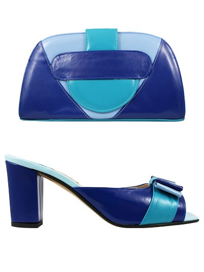 EVQ131 -Royal & Turquoise Evoque Sandals & Bag