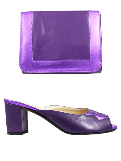 EVQ139 -Purple Evoque Sandals & Bag