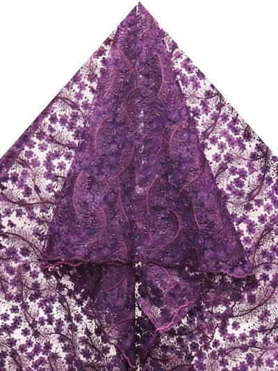 FRN281 -Big French Lace With embroidered petals