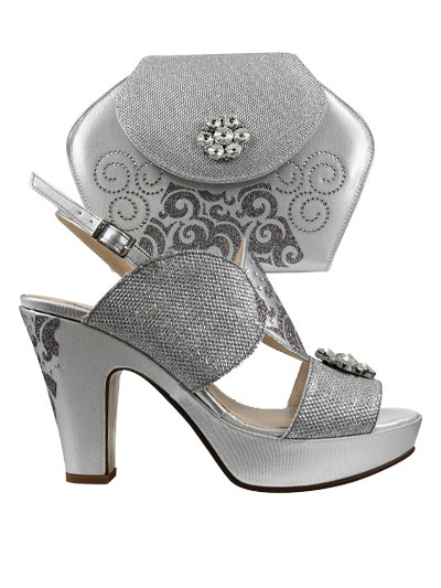 EDS1141 - Silver Wedge Enzo di Roma Shoe & Bag
