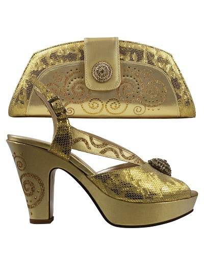 EDS1143 - Gold Wedge Enzo di Roma Shoe & Bag