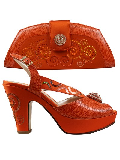 EDS1151 - Orange Wedge Enzo di Roma Shoe & Bag