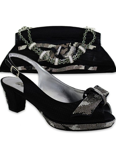 BGB753 - Black Bruno Giordano Shoe & Bag Set